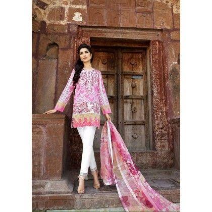 Beautiful Pakistani Style Printed Cotton Dress Material - Pink - Afreen