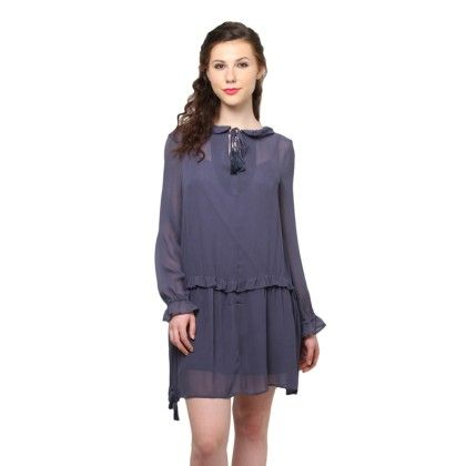 Navy Blue Swing Dress With Tassel Ties - XNY