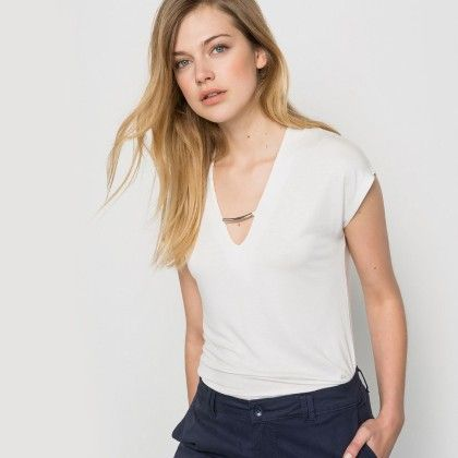 Ivoire V Neck Basic Top - La Redoute