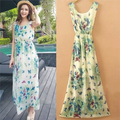 Butterfly Print Blue Summer Long Dress - Dell's World
