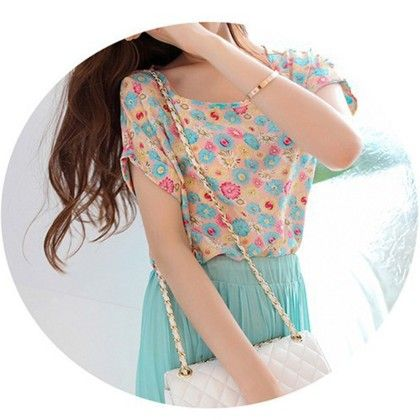 Floral Print Chiffon Top - Dell's World - 319002