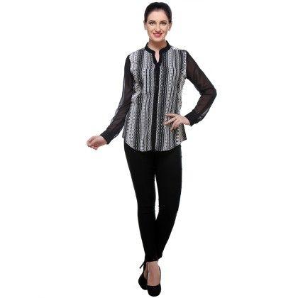 Black & White Print Crepe Geometric Printed Shirt - Varanga