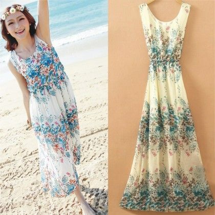 Off White Floral Print Summer Long Dress - Dell's World