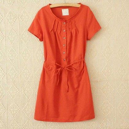 Orange Loose Fit Short Dress - STUPA FASHION