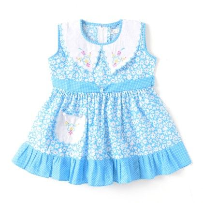 Stylish Summers -  Peter Pan Collared Dress Sky Blue - BownBee