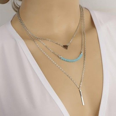Blue Layered Necklace - Oomph