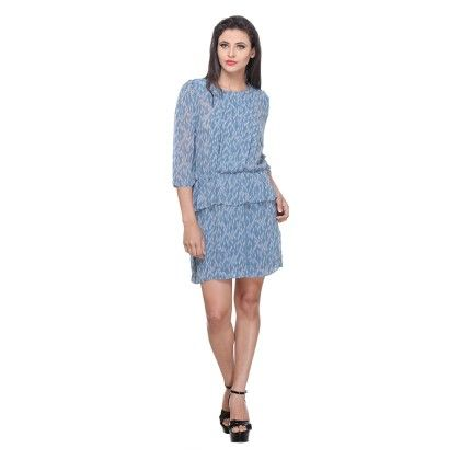 Sky Blue Polyster Printed Peplum Dress - Varanga