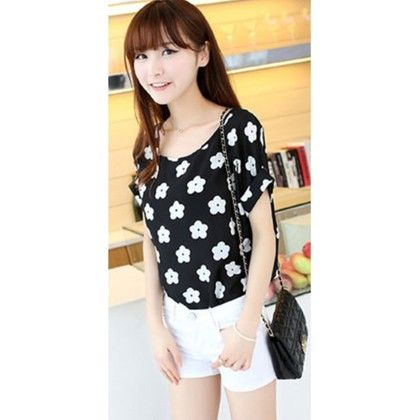 Flower Print Chiffon Top - Dell's World - 318999