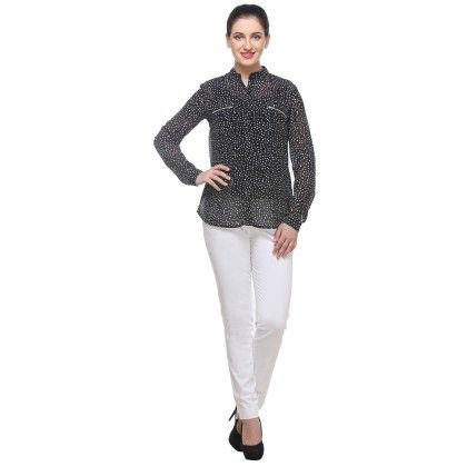Black And White Georgette Printed Shirt - Varanga