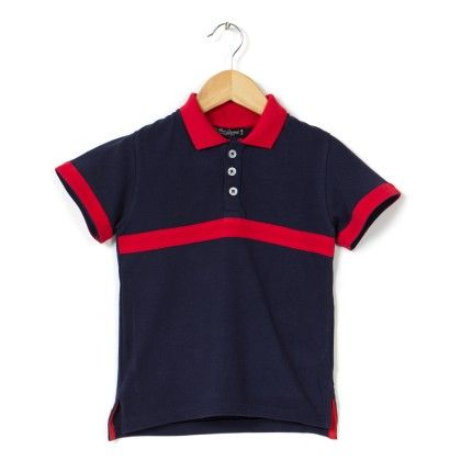 Front Stripe Contrast Collar Polo Navy T Shirt - COOL QUOTIENT
