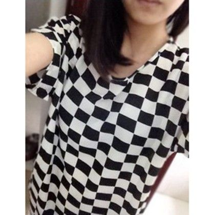 Chequered Print Chiffon Top - Dell's World