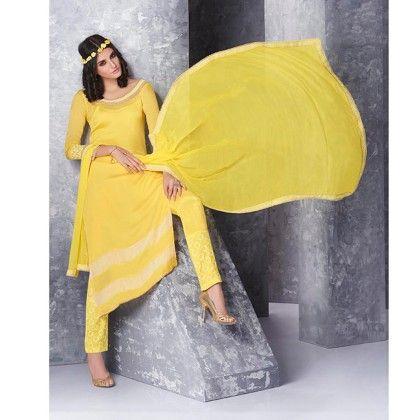 Yellow Pearl Yoke Dress Material - Jashn