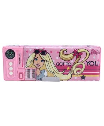 Barbie 3 Button Pink Pencil Box - My Baby Excel