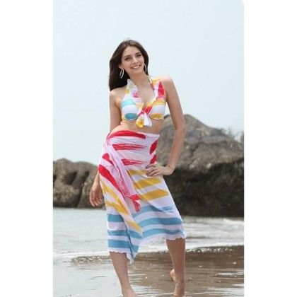 Coverup Beach Dress Sarong -multi  Long Scarf - Ruby Swimwear