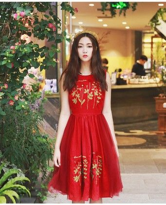 Red Flower & Leaves Evening Dress - Mauve Collection
