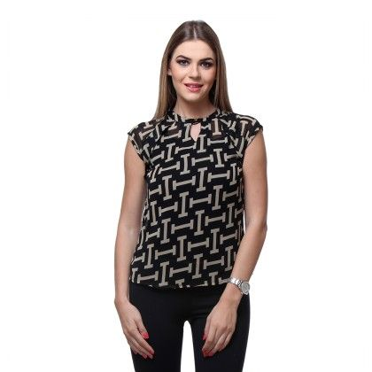 Black Georgette Printed Top - Varanga