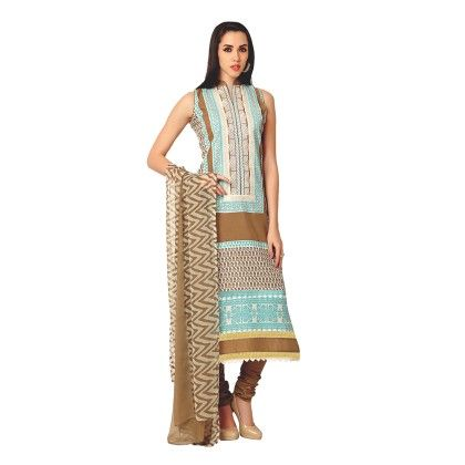 Exclusive Dress Material With All Over Front And Back Multi Design Print With Printed Dupatta Brown - Varanga