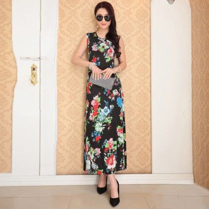 Multi Floral Print Designer Long Dress - Dell's World