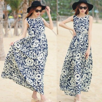 Persian Floral Print Summer Long Dress - Dell's World
