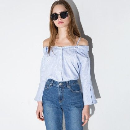 Strappy Off The Shoulder Stripe Cotton Shirt - Drama Queen