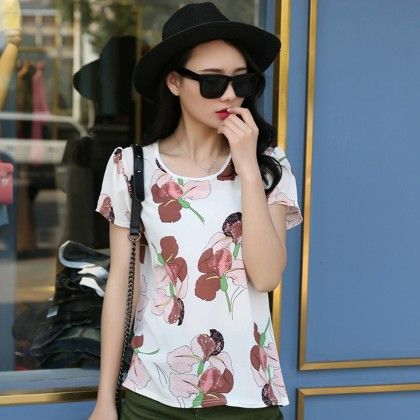Floral Print Chiffon Short Sleeve Top - Dell's World