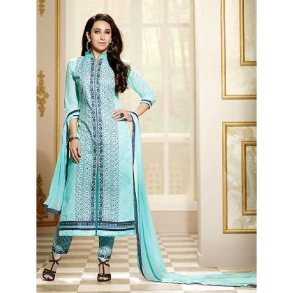 Sky Blue Semistitched Embroidery Dress Material - Fabfella - 306732