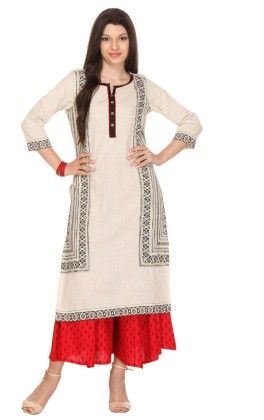 Rust Off-white Printed Flex Stitched Kurta - Varanga