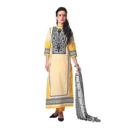 Exclusive Dress Material With All Over Multi Design Print With Printed Dupatta - Yellow - Varanga