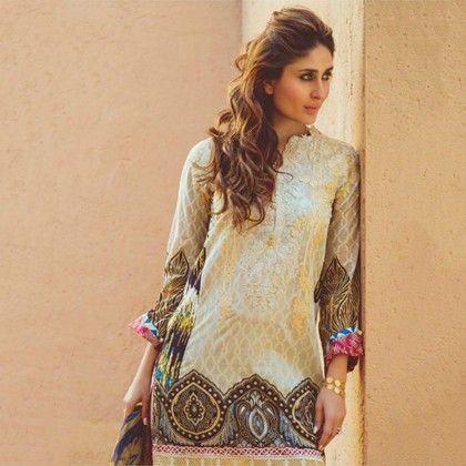 Faraz Manan Beige & Brown Semistitched Suit - Mauve Collection