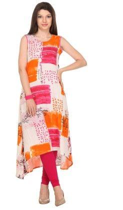 Printed White Stitched Kurti - Varanga