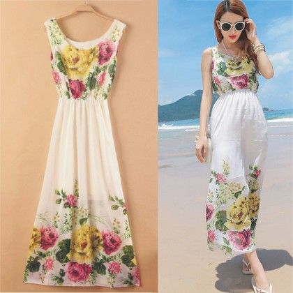 Floral Bottom Print Summer Long Dress - Dell's World
