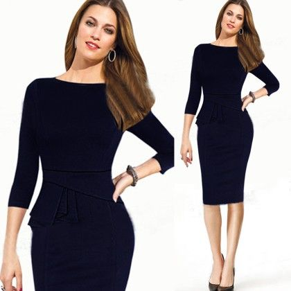 Elegant Black Pencil Dress - STUPA FASHION