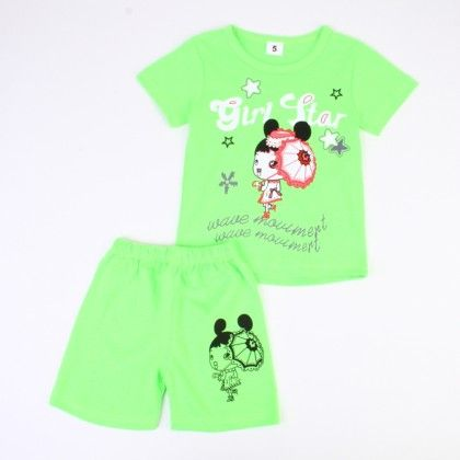Girl Star Print Top And Shorts Set - Green - Ton