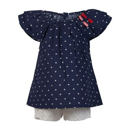 Polka Peasant Top With Bow Applique With White Lace Shorts -navy - Soul Fairy