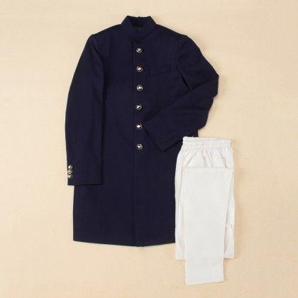 Navy Blue Achkan Set - Farro