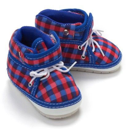 Blue Checks Shoes With Velcro And Lace - BabyZinnia