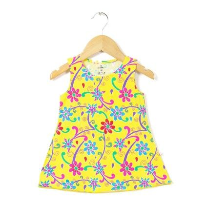 Multi Floral Printed Yellow A Line Dress - Chocoberry