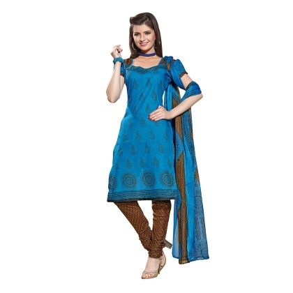 Printed Dress Material With Matching Dupatta Blue - Varanga