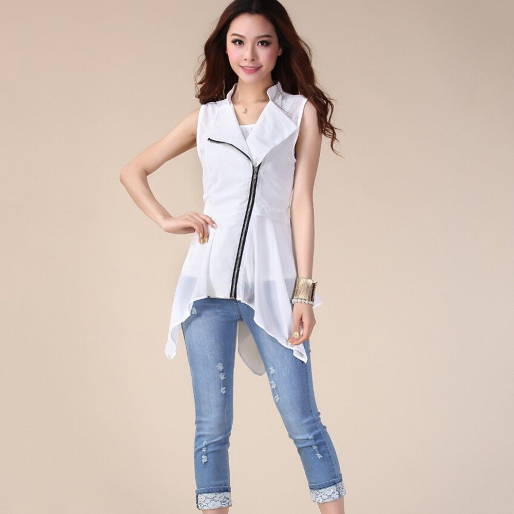 Stylish Cross Chain Long White Top - Dell's World