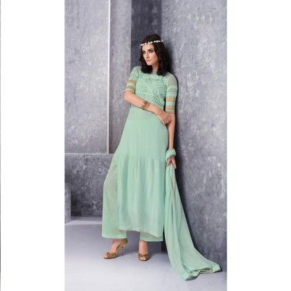 Sea Green Embroidered Dress Material - Jashn