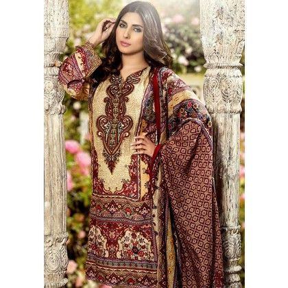 Beautiful Pakistani Style Printed Cotton Dress Material - Beige & Brown - Afreen