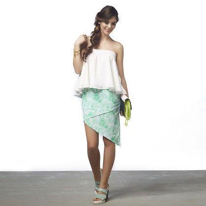 Palm Print Overlap Skirt - The Label Life