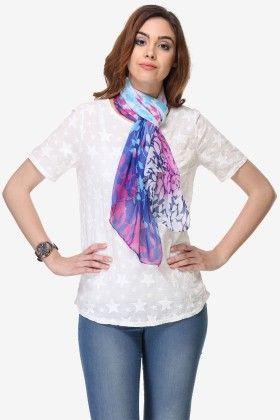 Varanga Printed Multi-color Chiffon Scarf - Riti Riwaz