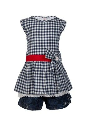 Gingham Chex Tunic With Bow & Lace At Hem Lace Shorts  -navy - Soul Fairy