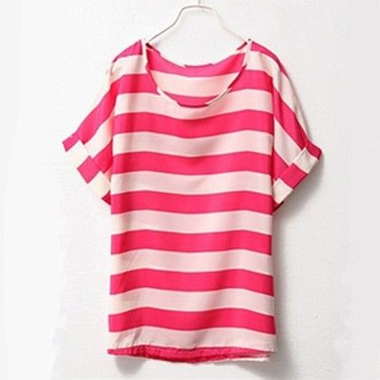 Pink Stripes Chiffon Top - Dell's World