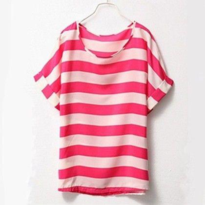 Pink Stripes Chiffon Top - Dell's World