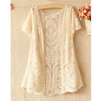 Beige Front Open Short Sleeve Lace Shrug - Dell's World