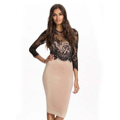 Lace And Lycra Blend Evening Dress - Beige - Mauve Collection