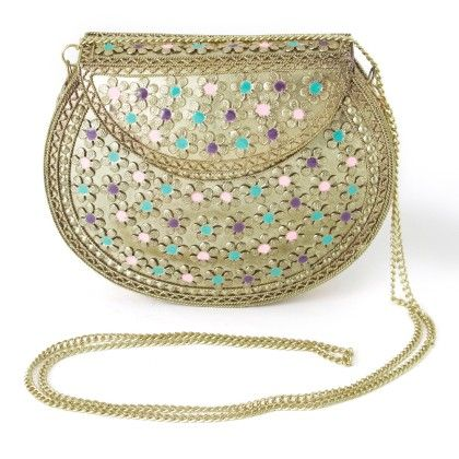 Latest Style Metallic Clutches With Meena Work - Mauve Collection