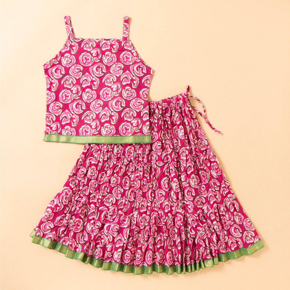 Jaipuri Printed Long Cotton Skirt Set - Pink - BownBee